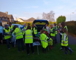 Volunteers get their equipment ready for the 2016 Village Springclean